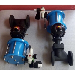 Marine pneumatic stop valve with limit switch